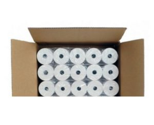photo d'un carton de 20 rouleaux de papier thermique