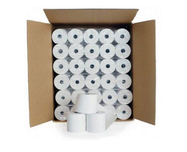 Photo d'un carton de 60 rouleaux de papier thermique pour balance à ticket